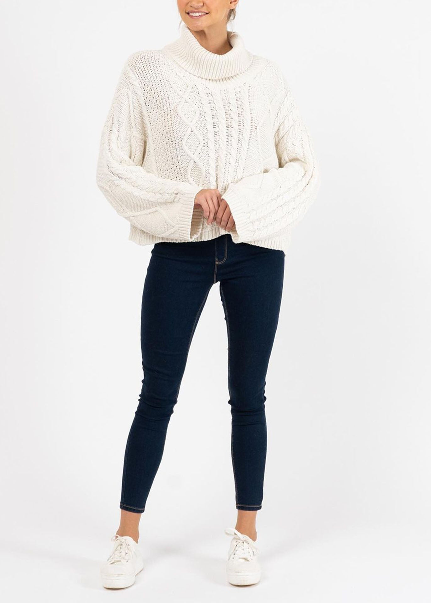 Reina Cable Knit Rollneck Jumper