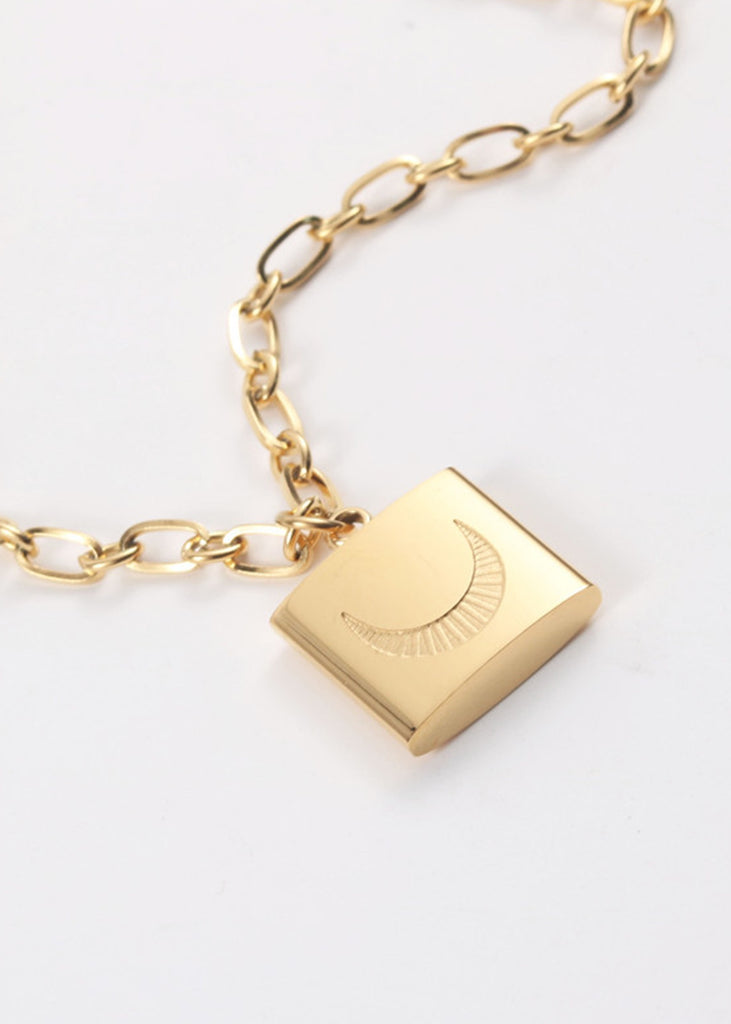 Crescent 18K Gold Plated Necklace