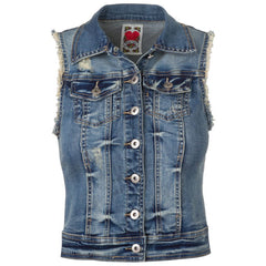 "Women's Denim Gilet ""Tight Heart"" Miss Two - en.brands4all.com.gr - 1"