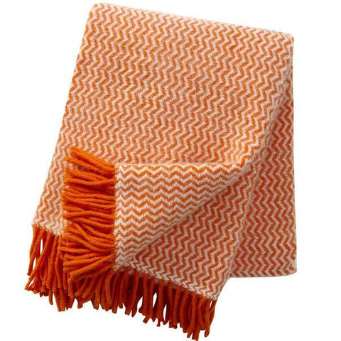 Tango Orange wool throw / blanket
