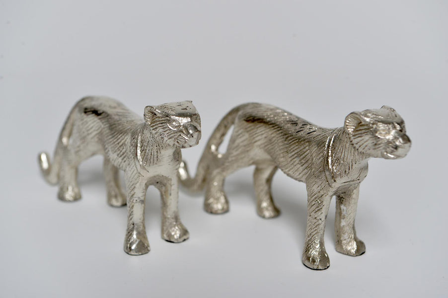 Aluminium silver decorative jaguar - L'Atelier Natalia Willmott