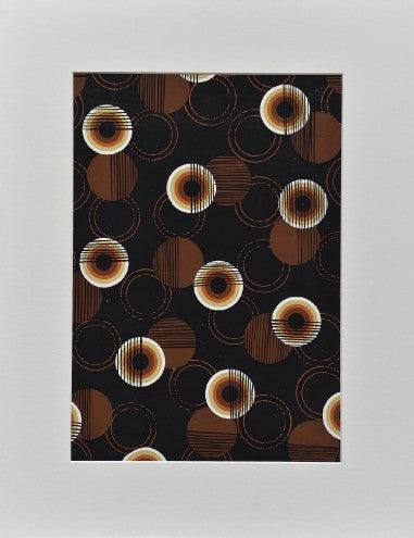 Circles on brown textile design - L'Atelier Natalia Willmott