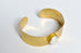 Beaten brass cuff with cat's eye or pearl - L'Atelier Natalia Willmott