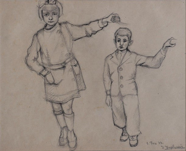 Pencil drawings of a boy and a girl - L'Atelier Natalia Willmott