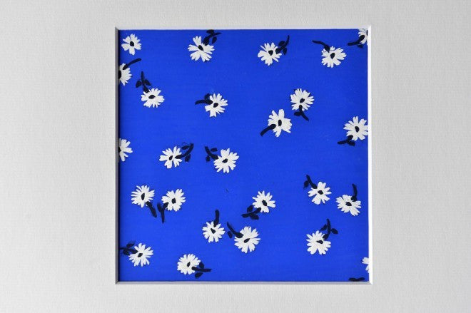 Flowers gouache on blue textile design - L'Atelier Natalia Willmott