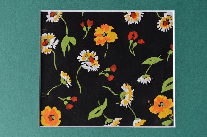 Flowers gouache orange & yellow on black textile design - L'Atelier Natalia Willmott