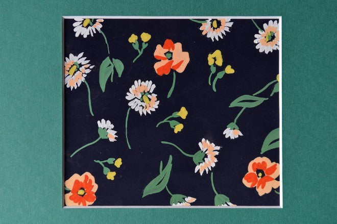 Flowers gouache peach & yellow on black textile design - L'Atelier Natalia Willmott