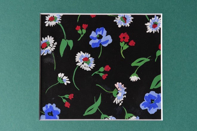 Flowers gouache blue & red on black textile design - L'Atelier Natalia Willmott