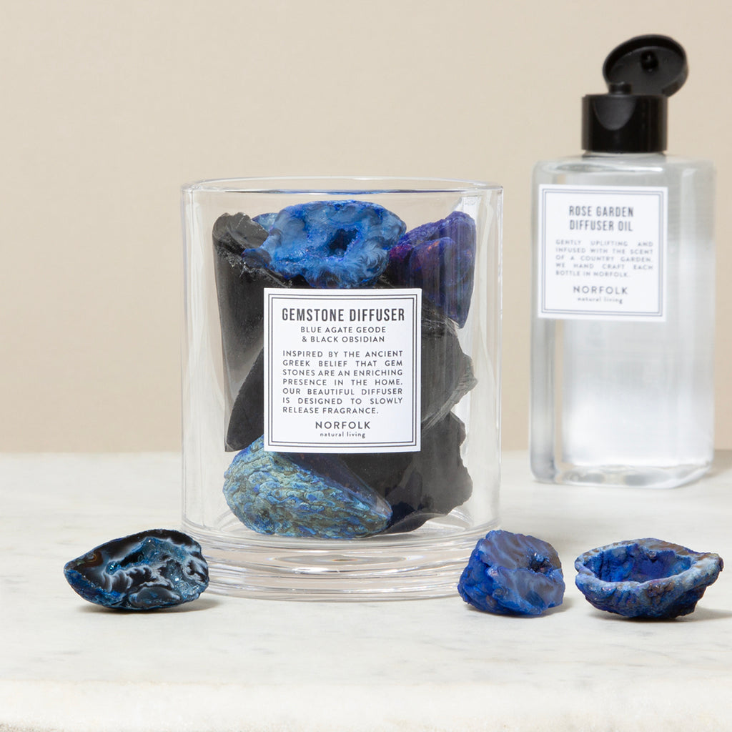 Gemstone diffuser, blue agate and black obsidian