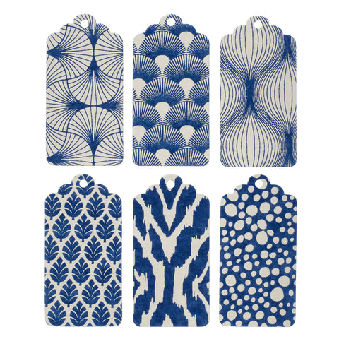 Hand made paper gift tag in blue - L'Atelier Natalia Willmott