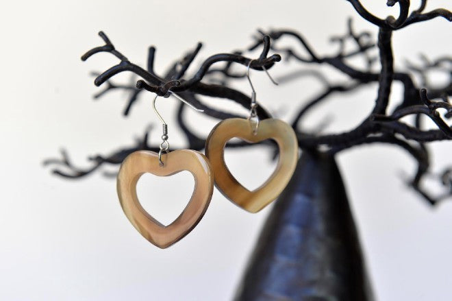 Heart shaped horn earrings - L'Atelier Natalia Willmott