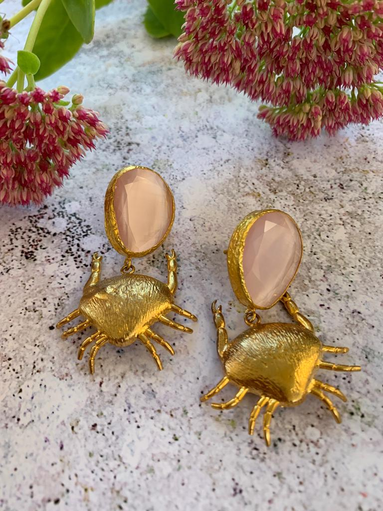 Bronze rose quartz with pendant crab earrings - L'Atelier Natalia Willmott