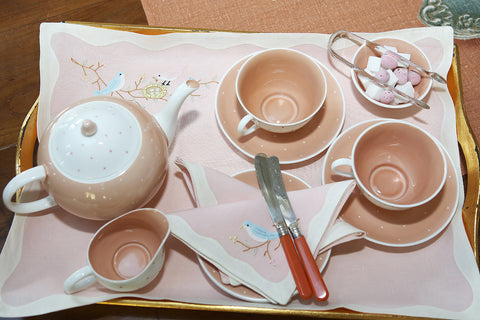 Vintage tray embroidered set - L'Atelier Natalia Willmott