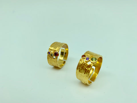 Wide silver gold plated ring with gems