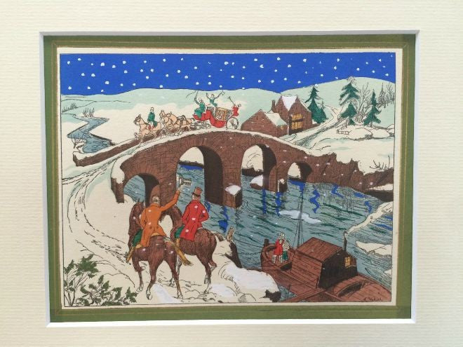 Art Deco Pochoir Design Christmas card - Bridge - L'Atelier Natalia Willmott