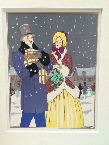 Art Deco Pochoir Christmas card - Couple in coats - L'Atelier Natalia Willmott