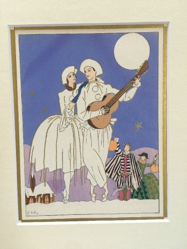 Art Deco Pochoir Christmas card - Couple in white - L'Atelier Natalia Willmott