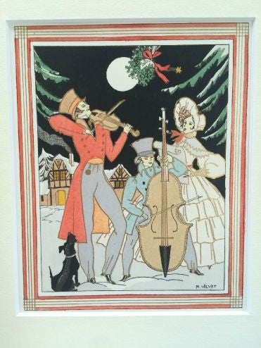 Art Deco Pochoir Christmas card - Carolling - L'Atelier Natalia Willmott