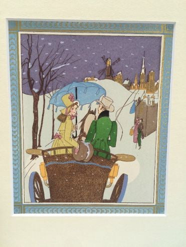Art Deco Pochoir Christmas image - Carriage - L'Atelier Natalia Willmott