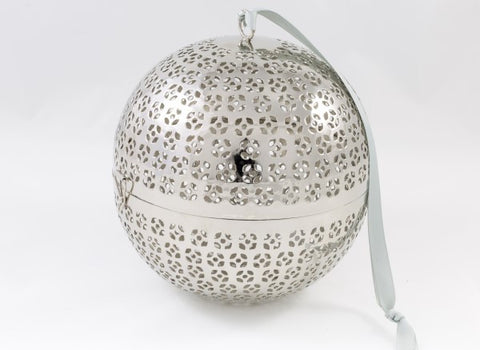 Large Boule Arty - Silver metal ball with lights - L'Atelier Natalia Willmott