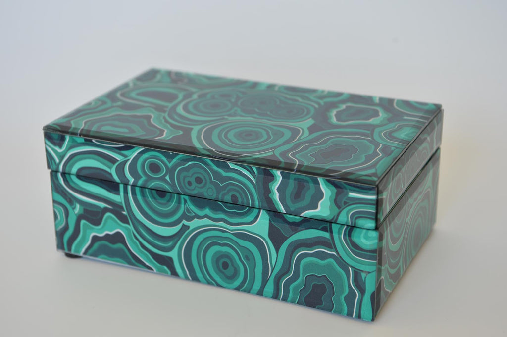 Glass Box with malachite pattern & soft velvet interior - L'Atelier Natalia Willmott
