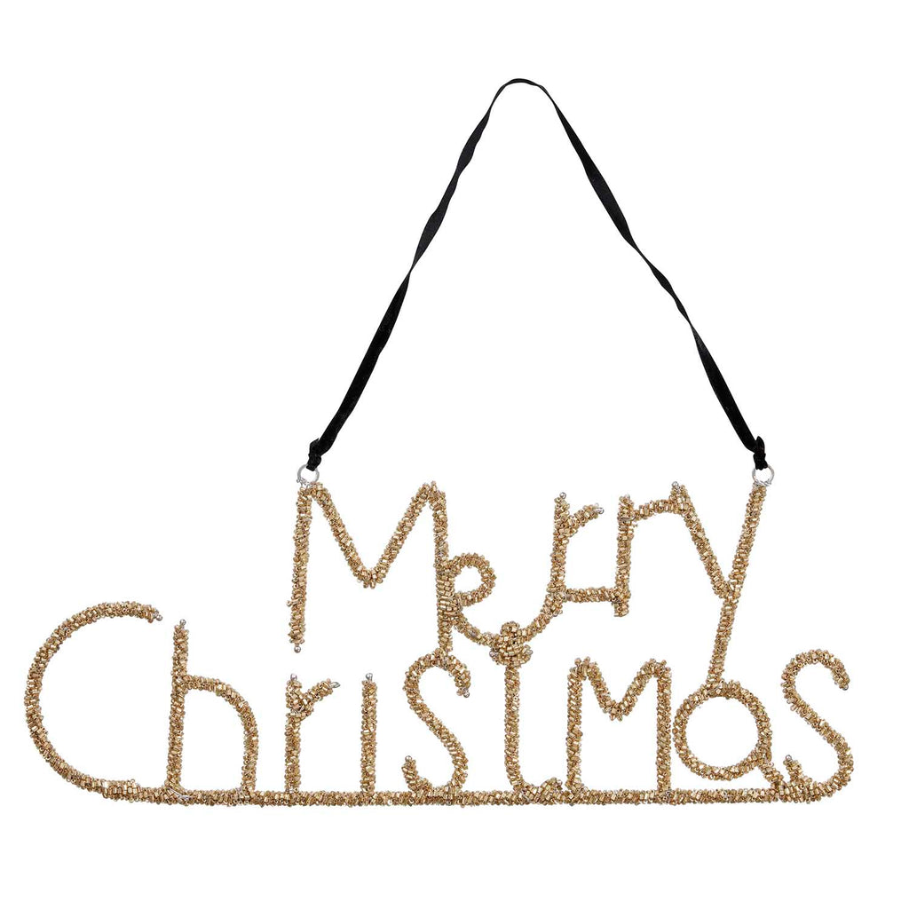 Beaded Merry Christmas sign in gold - L'Atelier Natalia Willmott
