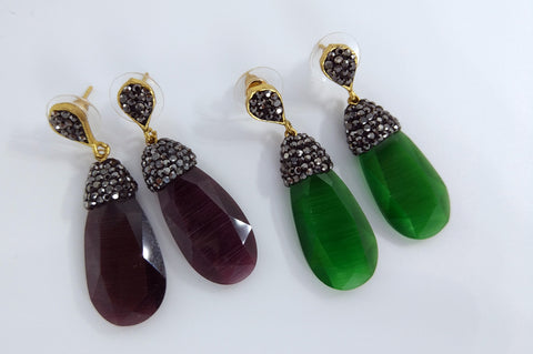 Glass drop earrings with Swarovski crystals - L'Atelier Natalia Willmott