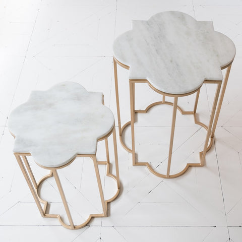 Metal and marble Taj Table