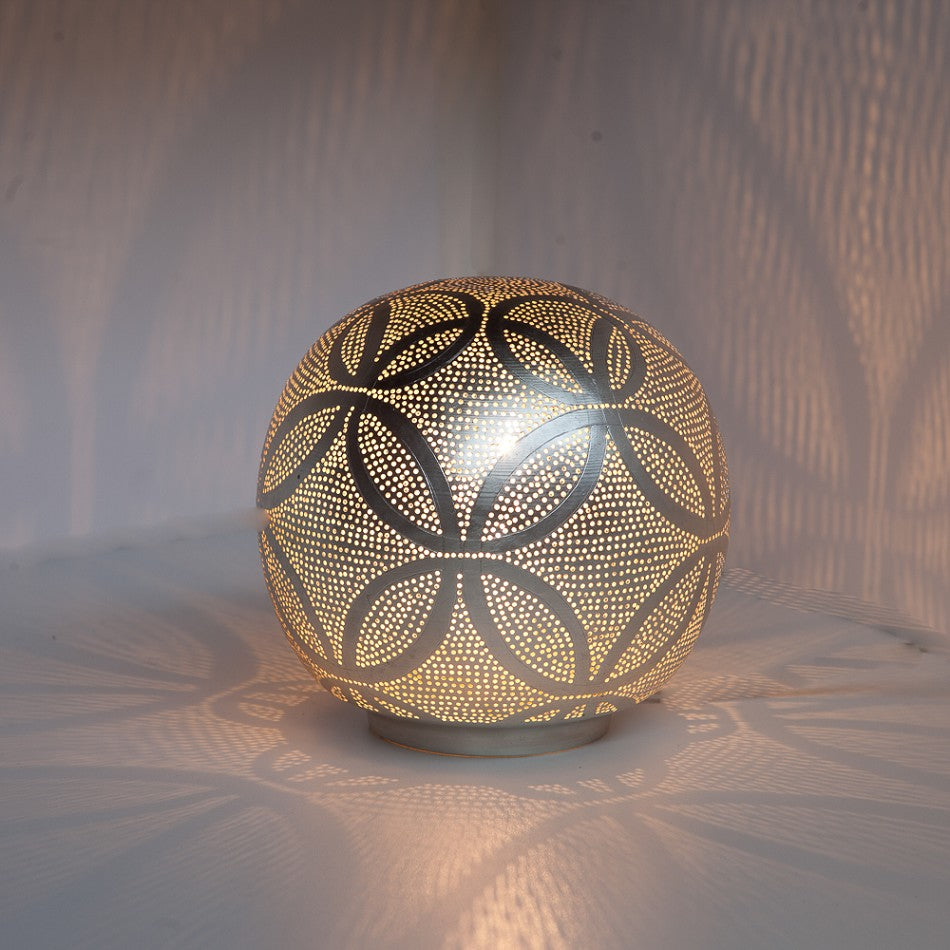 Small silver ball metal table lamp