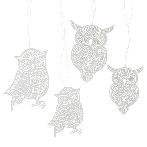 Lasercut paper owl Christmas decoration set - L'Atelier Natalia Willmott