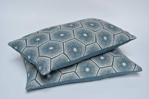 Blue hexagon cushion with Rapture & Wright fabric - L'Atelier Natalia Willmott