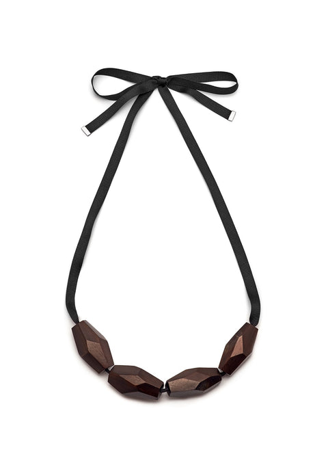 Abstract rosweood bead necklace - L'Atelier Natalia Willmott
