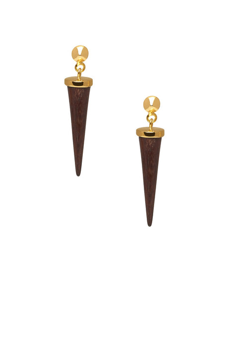 Small rosewood silver round spike earrings