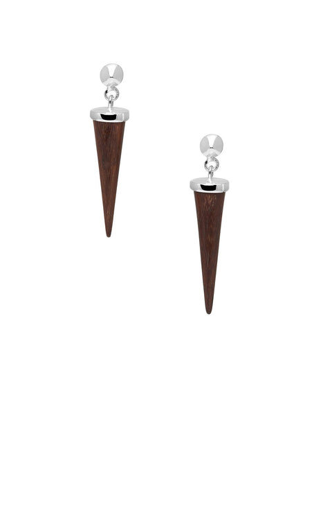 Small rosewood & silver round spike earrings
