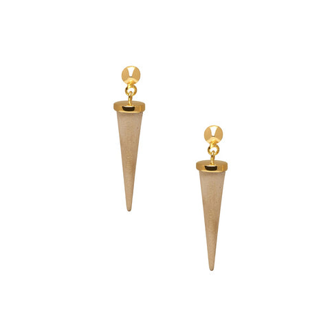 Small white wood & gold plated silver round spike earrings