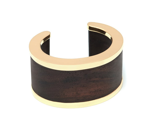Straight edge cuff with gold plated metal edging - L'Atelier Natalia Willmott