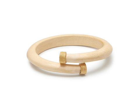 White wood spiral bangle with goldplated silver caps