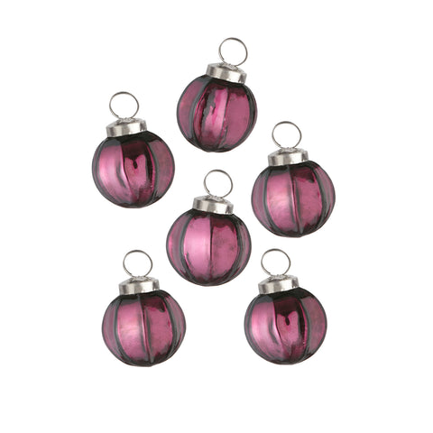 Christmas mini aubergine baubles. - L'Atelier Natalia Willmott