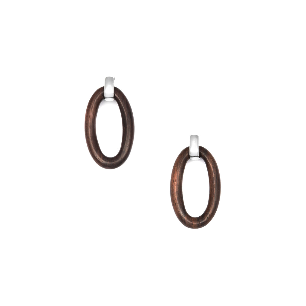 Oval wood hoop earrings with silver setting