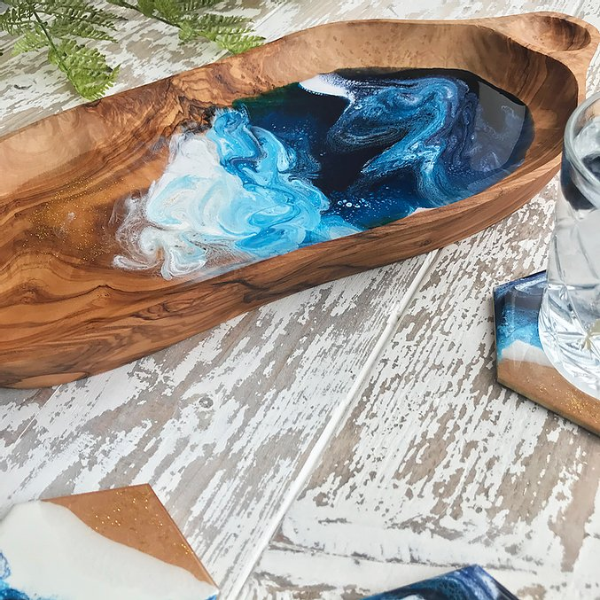 Olive wood and resin bowl Ocean