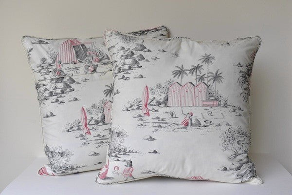 Cushion with cotton fabric Deauville - L'Atelier Natalia Willmott