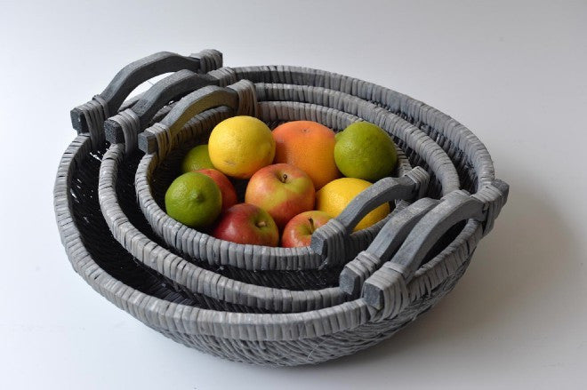Set of 3 grey willow baskets with handle - L'Atelier Natalia Willmott