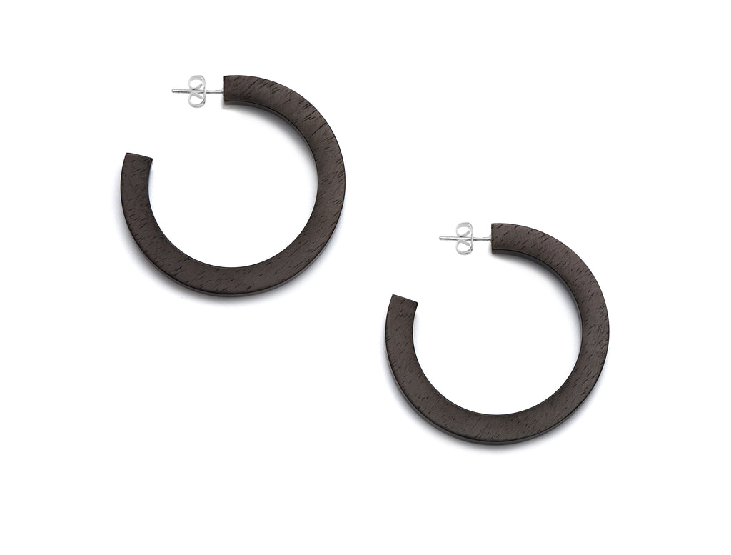 Black wood hoop earrings with silver - L'Atelier Natalia Willmott