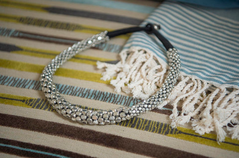 Silver beads torque necklace