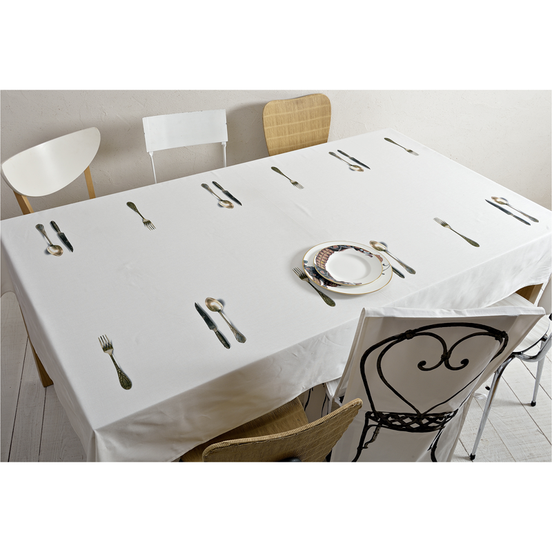 Tablecloth with cutlery design