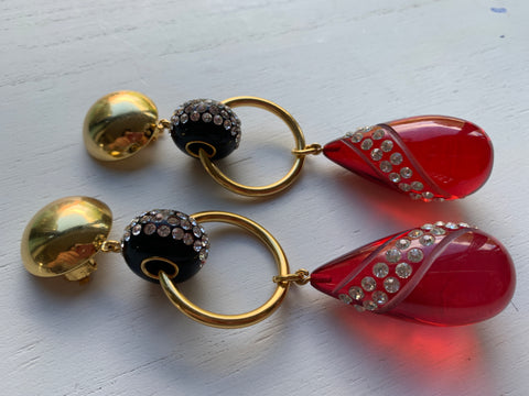 Red Plexiglas Christian Lacroix vintage clip on earrings