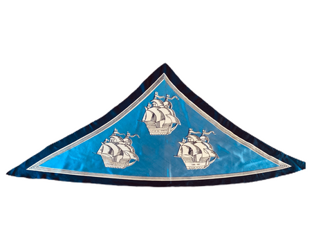 Vintage blue triangle 'boats' silk scarf