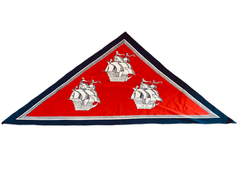 Vintage red triangle 'boats' silk scarf