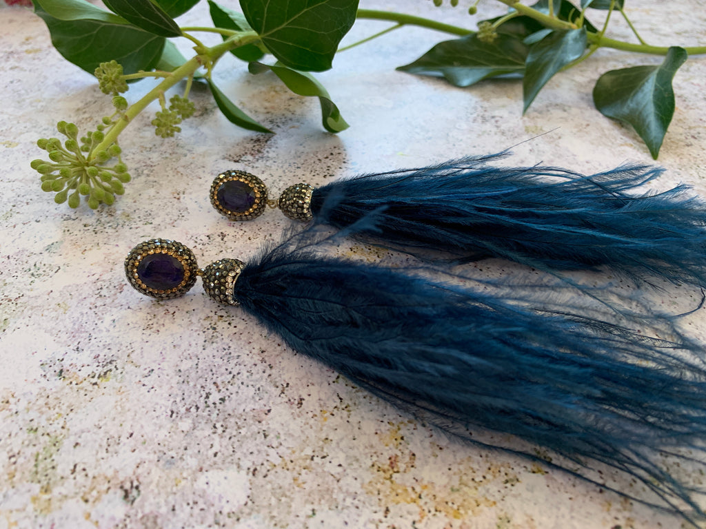 Haematite and natural sapphire blue feather pendant earrings - L'Atelier Natalia Willmott