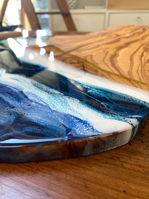 Large Olive wood and resin board
